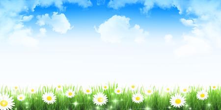 Flower fresh green landscape background Иллюстрация