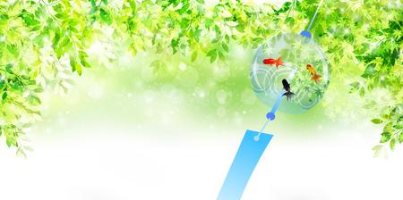 금붕어 바람 종소리 브랜드의 새로운 녹색 배경