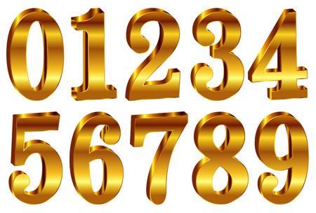 Cijfer effen goud pictogram
