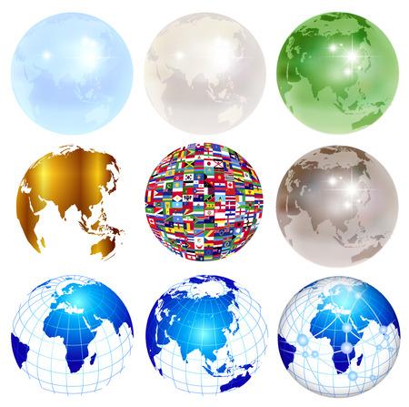 地球世界の旗のアイコン  イラスト・ベクター素材