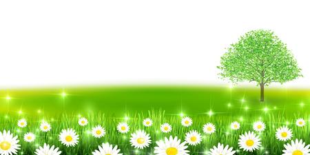 Flower fresh green landscape background Illustration