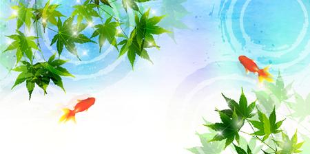 Goldfish Maple Summer Background 向量圖像