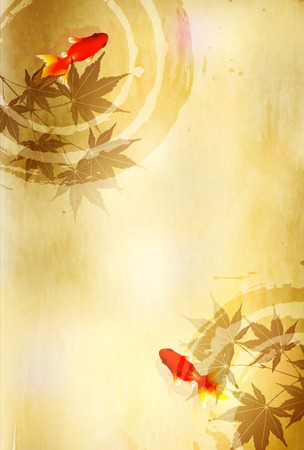 金魚のカエデの葉の背景