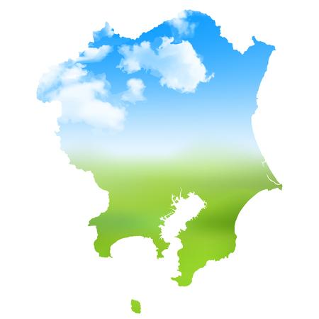 Kanto region Map landscape icon.