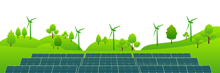 Solar wind power green background