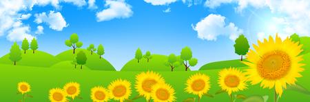 grassland: Sunflower grassland scenery background Illustration