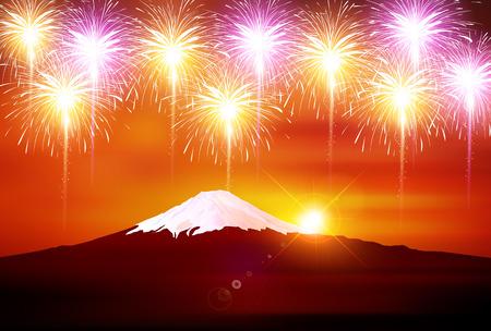 Fireworks Summer Landscape Background.