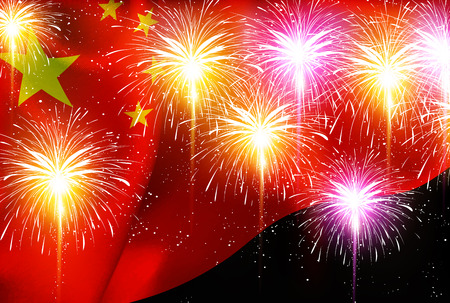 China fireworks national flag background Illustration