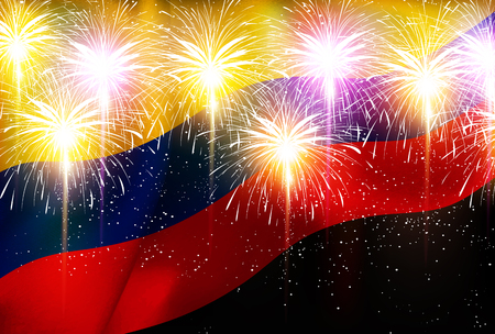 Columbia fireworks national flag background Illustration