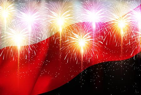 Poland national flag Fireworks background