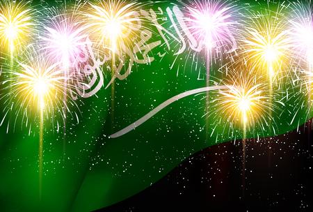 Saudi Arabia national flag Fireworks background