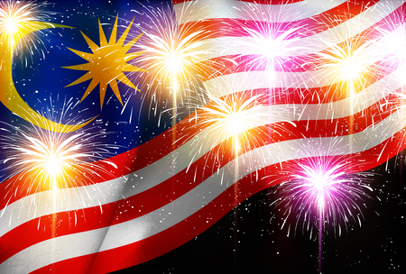 Malaysia national flag Fireworks background Illustration