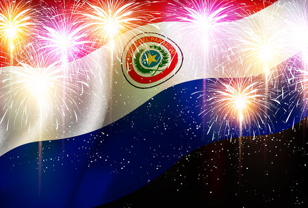 bandera de paraguay: Fondo de fuegos artificiales de bandera nacional de Paraguay