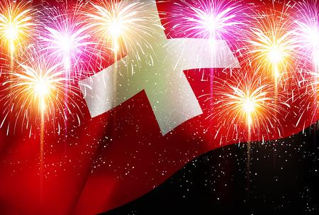 スイス国旗花火背景