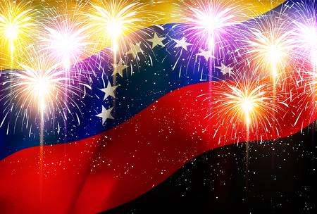 Venezuela national flag Fireworks