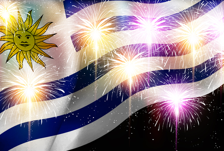 Uruguay national flag Fireworks background
