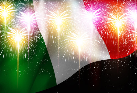 Italy national flag Fireworks background