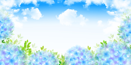 Hydrangea rainy season landscape background Illustration