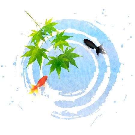 Goudvis zomer esdoorn pictogram Vector Illustratie