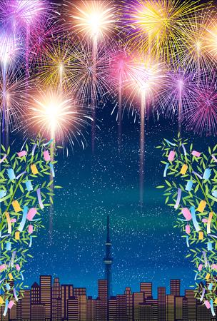 별 축제 대나무 불꽃 놀이 배경 일러스트
