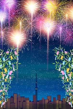 Star Festival Bamboo fireworks background