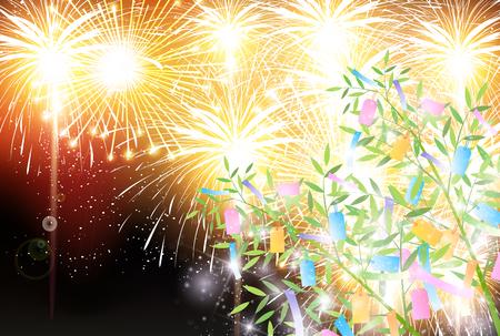 Fond de feu d'artifice de Star Festival bambou
