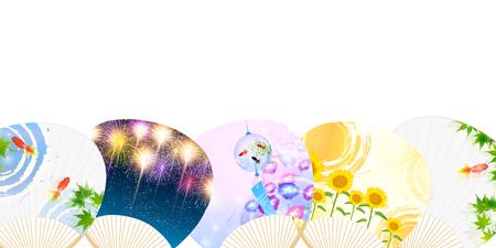 夏メープル ファン背景  イラスト・ベクター素材