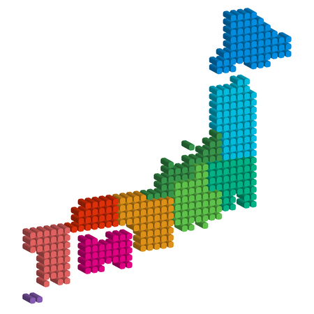 Japan map circle icon Illustration