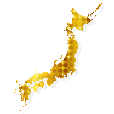 Japan Map Gold Icon