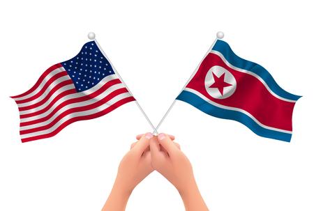 America North Korea Flag hand Illustration