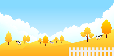 holstein: Autumn leaves cattle ranch background. Illustration