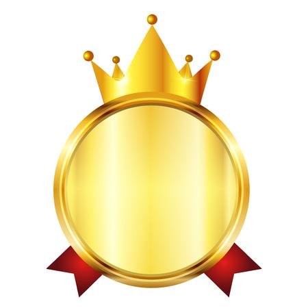 Crown medal frame icon Illustration