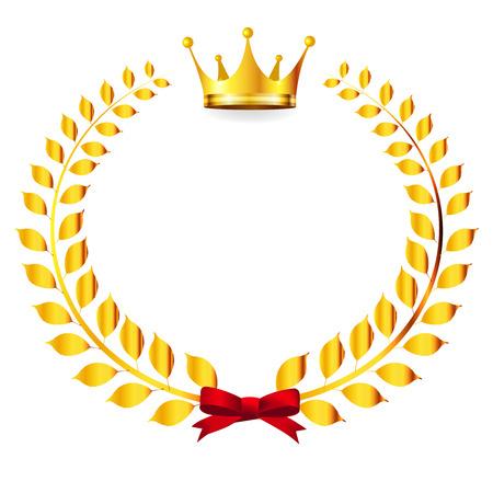 king crown laurel icon round: Crown Laurel Gold icon