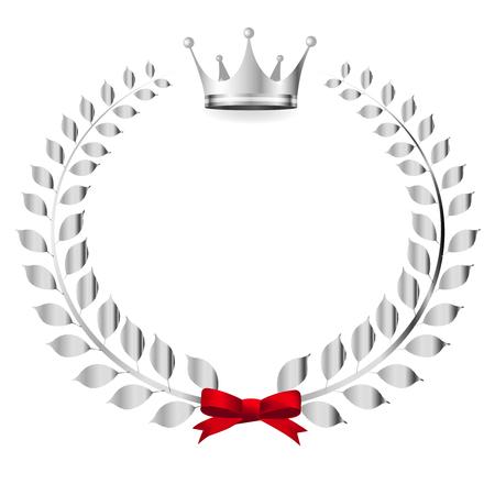 king crown laurel icon round: Crown Laurel silver icon.