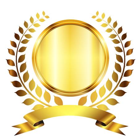 king crown laurel icon round: Medal Laurel gold icon