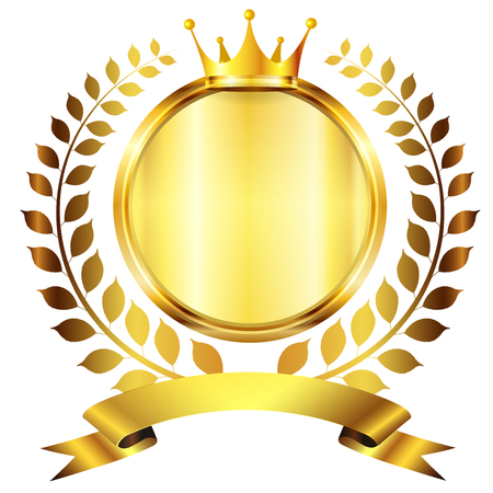 king crown laurel icon round: Crown medal gold icon