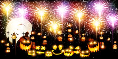 Halloween fireworks citrouille fond Banque d'images - 80482592