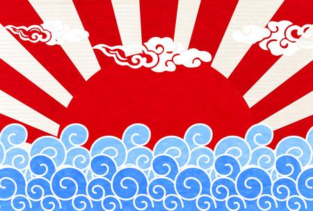 bandera japon: Océano de onda de fondo solar