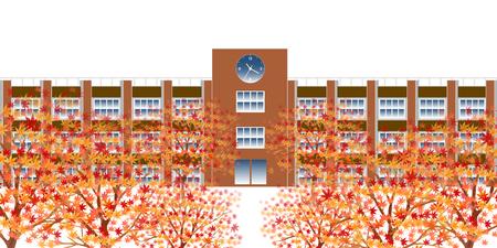 Herfstbladeren vallen school achtergrond Stock Illustratie