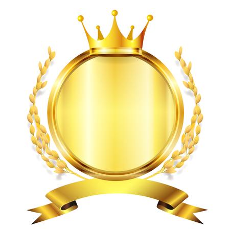 king crown laurel icon round: Rice fall autumn icon