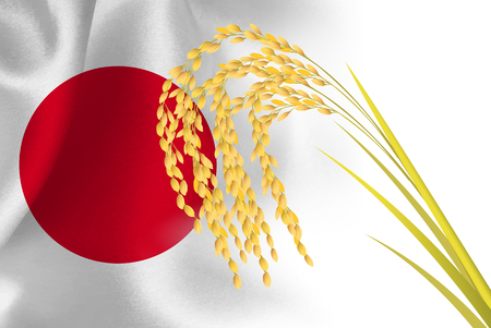 Rice Japan Flag Background