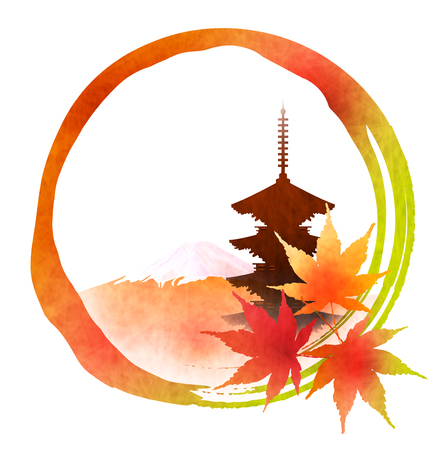 Autumn leaves Japanese paper icon