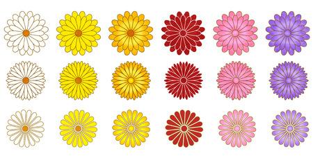 Chrysanthemum flower fall icon Illustration