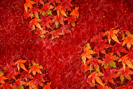 japanese maple: Autumn leaves fall Japanese paper background. Illustration