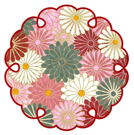 Chrysanthemum pattern Japanese paper icon. Ilustrace