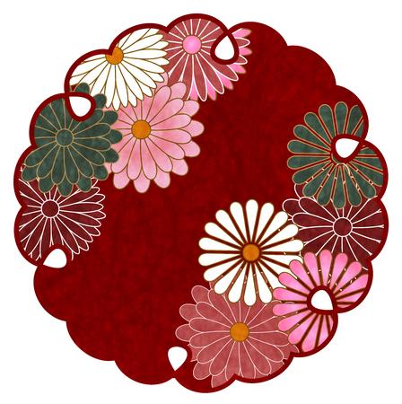 Chrysanthemum pattern Japanese paper icon. Illustration