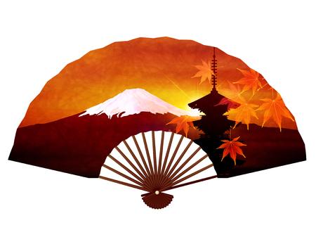 Autumn Maple Mt. Fuji background Illustration