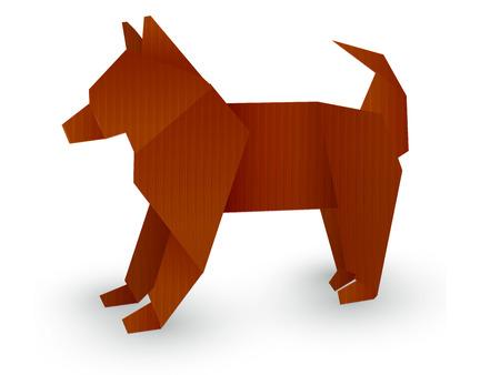 犬折り紙新年カード アイコン