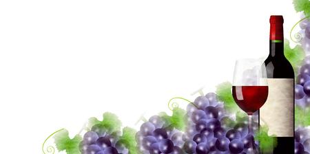 ワイン葡萄ガラス背景