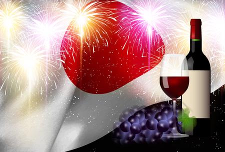 Wine Japan Flag Background Illustration
